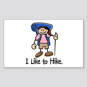 I Like To Hike Girl (Blue) Sticker (Rectangle)