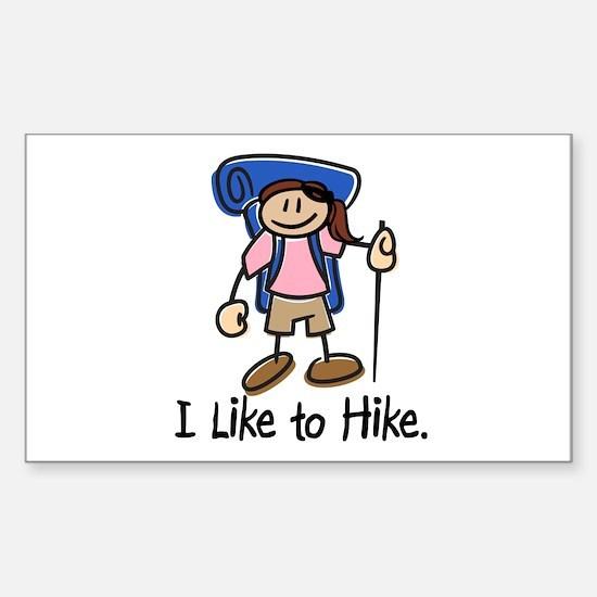 I Like To Hike Girl (Blue) Sticker (Rectangle)