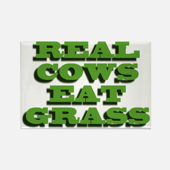 Real Cows Eat Grass Rectangle Magnet