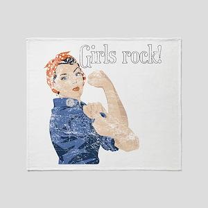 Girls Rock! (vintage) Throw Blanket