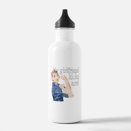 My girlfriend kicks ass Water Bottle