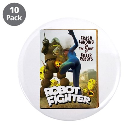 """Robot Fighter Fake Pulp Cover 3.5"""" Button (10 pack"""
