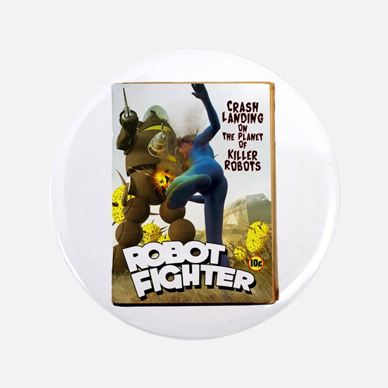 """Robot Fighter Fake Pulp Cover 3.5"""" Button"""