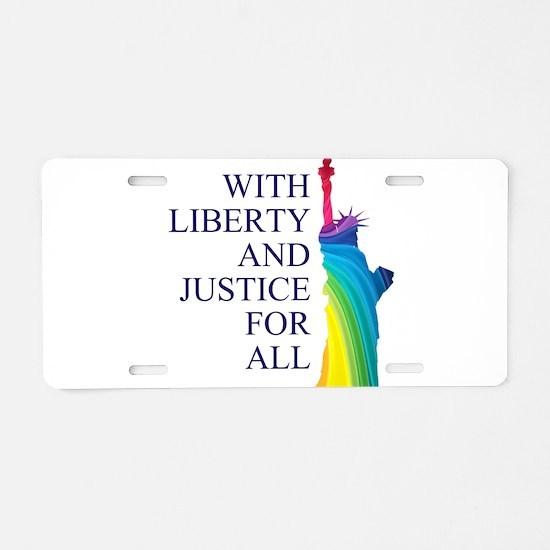 RAINBOW LIBERTY Aluminum License Plate