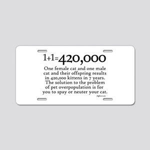 420,000 Cat Overpopulation Aluminum License Plate