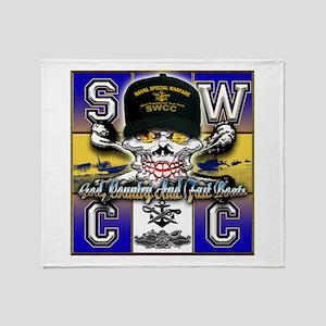 USN SWCC Skull & Bones Throw Blanket