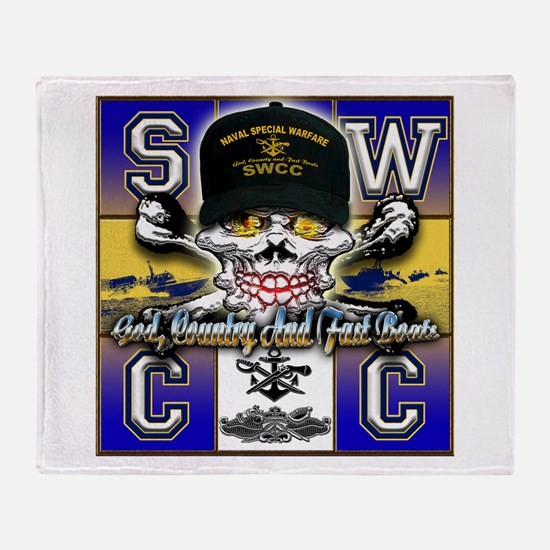 USN SWCC Skull & Bones Throw Blanket
