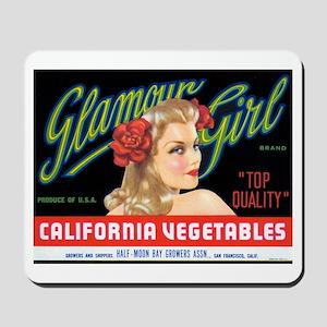 Glamour Girl Vintage Label Mousepad