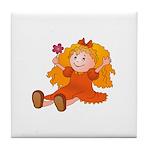 Girl With Flower Tile Coaster
