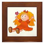 Girl With Flower Framed Tile