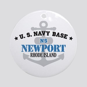 US Navy Newport Base Ornament (Round)