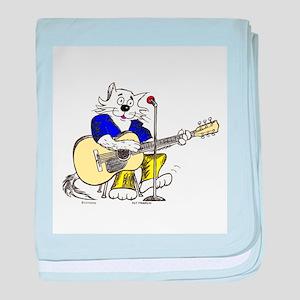 Accoustic Guitar Cat II baby blanket