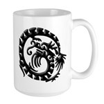 Black Tribal Dragon Large Mug