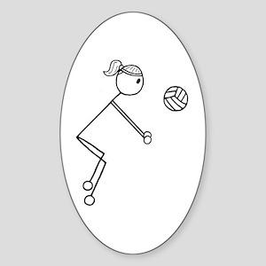 Volleyball Girl Black No Word Sticker (Oval)