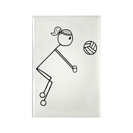 Volleyball Girl Black No Word Rectangle Magnet (10