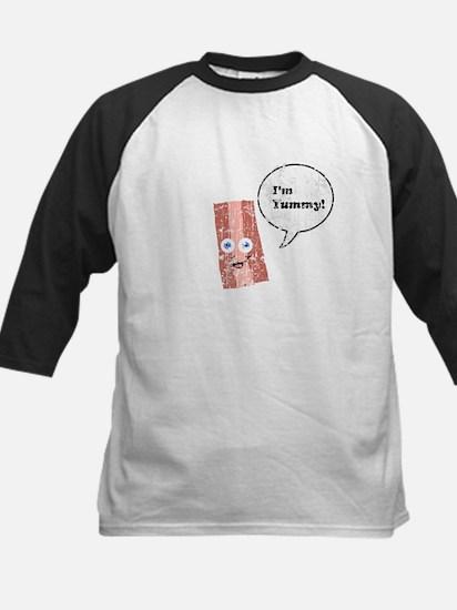 Vintage I'm Yummy Bacon 2 Kids Baseball Jersey