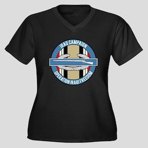OIF and CIB Women's Plus Size V-Neck Dark T-Shirt
