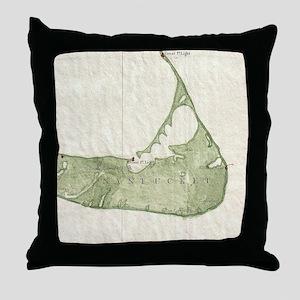 Vintage Map of Nantucket Massachusett Throw Pillow