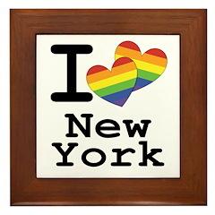 New York Marriage Equality Rainbow Hea Framed Tile