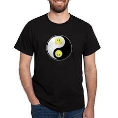 Yin Yang Smilies Black T-Shirt