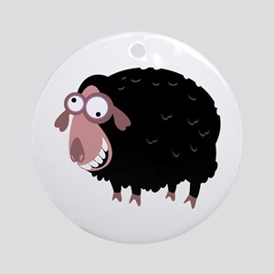 Loony Black Sheep Ornament (Round)