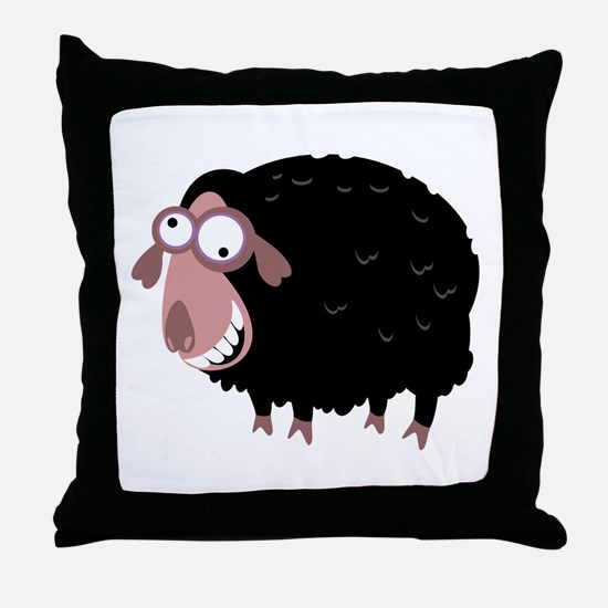 Loony Black Sheep Throw Pillow
