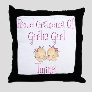 Proud Grandma of Girl Twins Throw Pillow