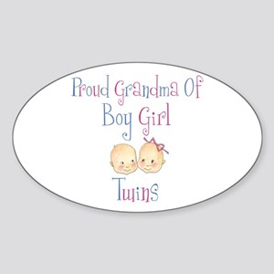 Proud Grandma of Boy Girl Twi Oval Sticker