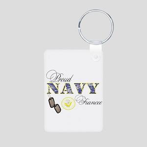 Proud Navy Fiancee Aluminum Photo Keychain