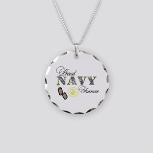 Proud Navy Fiancee Necklace Circle Charm