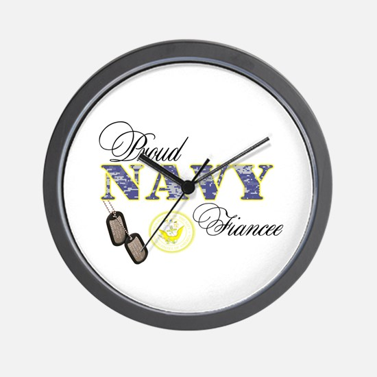 Proud Navy Fiancee Wall Clock