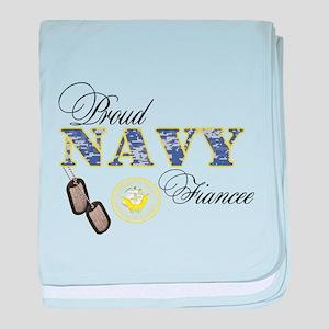 Proud Navy Fiancee baby blanket