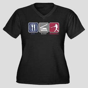 Eat Sleep Baseball Women's Plus Size V-Neck Dark T