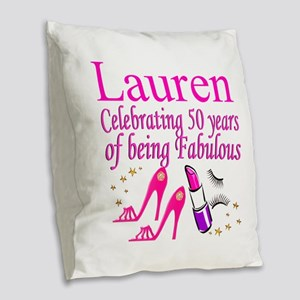MS DIVA 50TH Burlap Throw Pillow