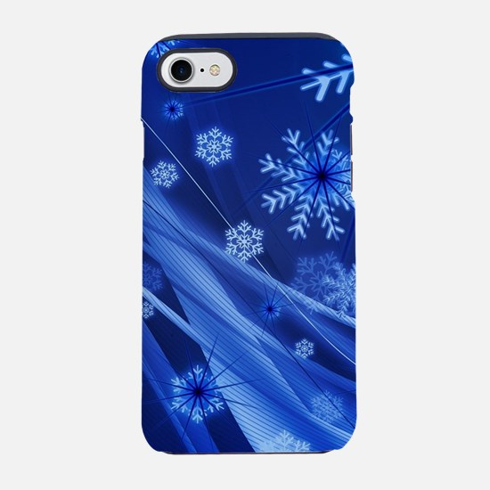 Blue Snowflakes Christmas iPhone 7 Tough Case