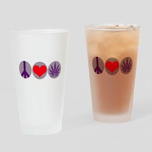 Peace Love Purple Leaf Pint Glass