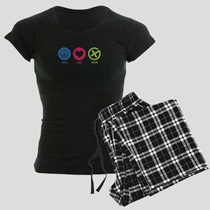 Geocaching PEACE LOVE CACHE Women's Dark Pajamas