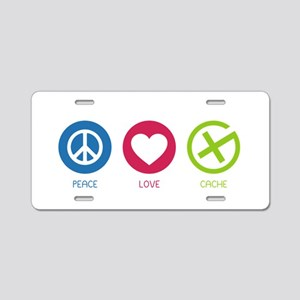 Geocaching PEACE LOVE CACHE Aluminum License Plate