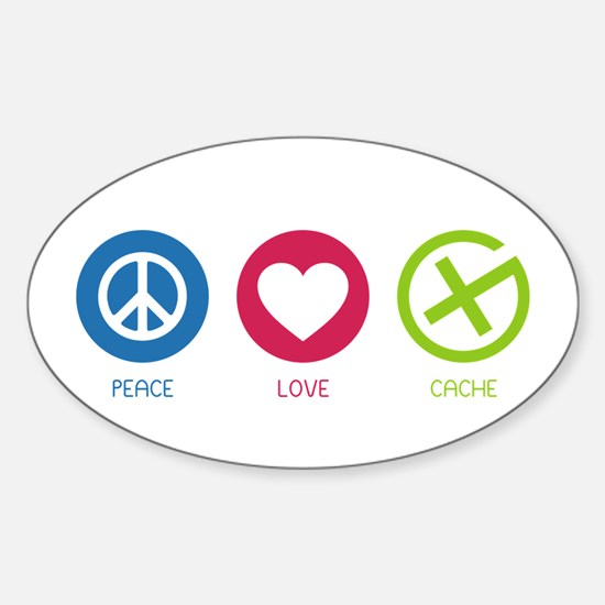 Geocaching PEACE LOVE CACHE Sticker (Oval)