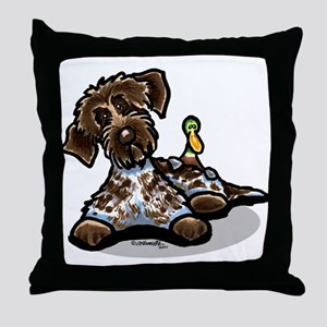 Funny Pointing Griffon Throw Pillow
