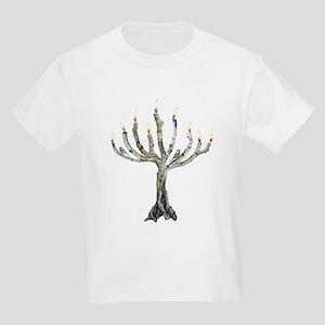Twig Menorah Chicadees Kids Light T-Shirt