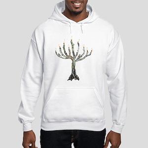 Twig Menorah Chicadees Hooded Sweatshirt
