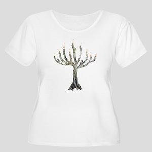 Twig Menorah Chicadees Women's Plus Size Scoop Nec
