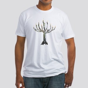 Twig Menorah Chicadees Fitted T-Shirt