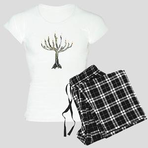 Twig Menorah Chicadees Women's Light Pajamas