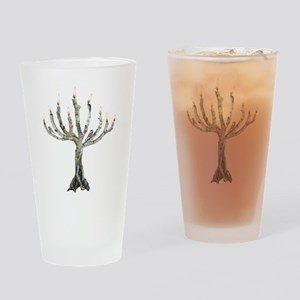 Twig Menorah Chicadees Drinking Glass