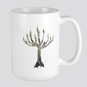 Twig Menorah Chicadees Large Mug