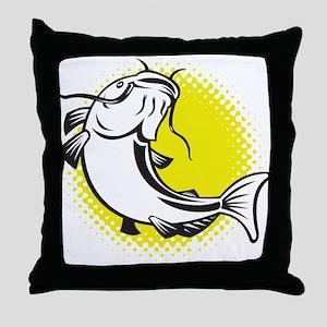 catfish swimming retro Throw Pillow
