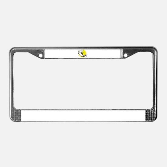 catfish swimming retro License Plate Frame