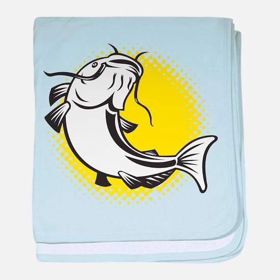 catfish swimming retro baby blanket
